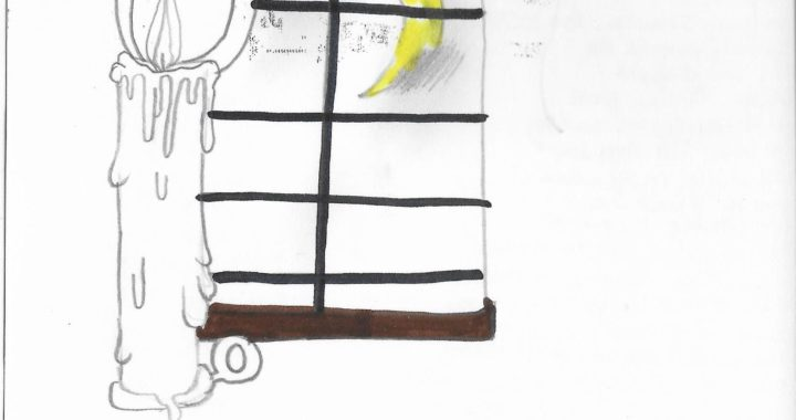 Postcard face featuring a pencil and marker drawing of a lit candle in front of a window, through which a crescent moon can be seen