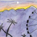Postcard face featuring a painting of palm trees and a ferris wheel in front of mountains, painted in watercolor with pen detail