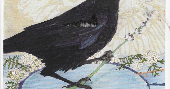 "Postcard face featuring a painting of a crow and the words ""YOU ARE DEEPLY LOVED"""