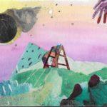Watercolor and mixed media postcard depicting a surreal landscape