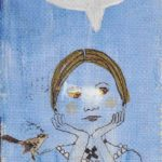 a handmade postcard depicting Dickinson, lost in thought, with a wren perched on her shoulder