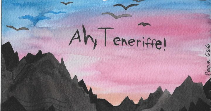 """Postcard face featuring a painting of a sunset and the words """"Ah, Teneriffe!"""""""