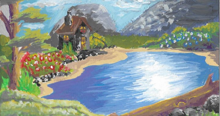Postcard face featuring a painting of a cottage by a lake