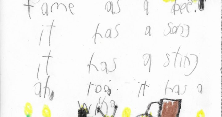 Postcard face featuring crayon and pencil drawings of bees, and a handwritten inscription in pencil