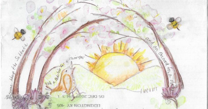 """Postcard face featuring a watercolor painting of an orchard, bees, and a bird singing the lines """"some keep the sabbath"""", """"a bobolink for a chorister"""", """"an orchard for a dome"""" and """"our little Sexton - sings"""""""