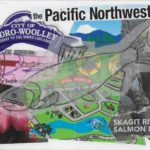 Handmade postcard with collage of images from Skagit Co, WA