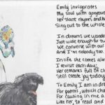 Handmade postcard with original inscription in black ink and pasted image of Emily Dickinson and Carlo