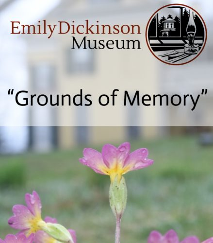 "Image of a yellow house with primrose in foreground, overlaid with words ""Grounds of Memory"" and museum logo."