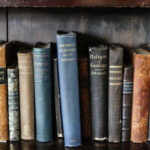 a row of Dickinson's textbooks on a shelf